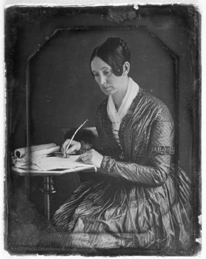 Unitarian Dorothea Dix c. 1848 crusader for mental health at her writing table. Photo: Marcus Aurelius